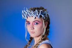 Fantasy winter queen. From fairytale forest, ice makeup Royalty Free Stock Photo
