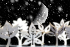 Fantasy winter snow scene with moon Stock Image