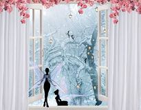 Fantasy winter window scene Royalty Free Stock Photos