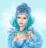Fantasy winter woman, beautiful snow queen. Illustration beautiful Fantasy blue woman  .Snow queen. Winter beautiful woman. Portrait Royalty Free Stock Images