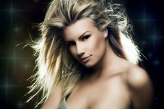 Fantasy woman. Beautiful blond woman fantasy  portrait Royalty Free Stock Images