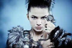 Fantasy woman. Warrior woman. Fantasy fashion idea royalty free stock photography