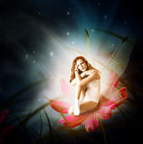 Fantasy. woman as fairy with wings. Fantasy. Magical young glowing woman as fairy firefly with wings sitting on flower in moon light Royalty Free Stock Photography