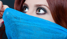 Fantasy woman with beautiful hazel eyes. Looking very attractive in closeup stock images