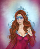 Fantasy  woman, beautiful snow queen in mask Stock Image