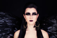 Fantasy Woman Black Angel or Raven Stock Images
