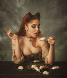 Fantasy woman cat and mouse Royalty Free Stock Photography