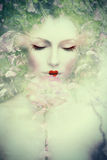 Fantasy woman composite. Artistic woman portrait, composite photo Royalty Free Stock Photography