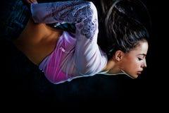 Fantasy woman diveing through the air stock photos