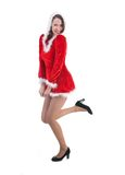 Fantasy woman in a little red dress with fur on white background Royalty Free Stock Photo