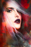 Fantasy woman portrait. Fantasy colorful woman portrait with veil composite photo royalty free stock photography