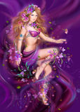 Fantasy Woman and  purple flowers , fashion portrait Stock Image