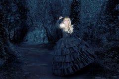 Fantasy woman travelling at night royalty free stock image