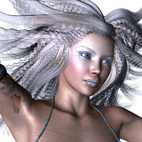 Fantasy woman with white hair. Digitally rendered illustration of a woman with white hair and fantasy make up in blue dress Stock Images