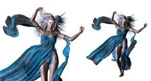 Fantasy woman with white hair Stock Photos