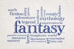 Fantasy word cloud on paper Stock Photos