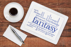 Fantasy word cloud on tablet Royalty Free Stock Images