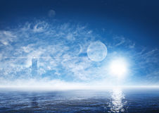 Fantasy world with foggy ocean, ghostly lighthouse. Beautiful landscape of fantasy world with foggy ocean, ghostly lighthouse, sun, planets and stars on the deep Stock Photos