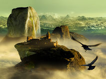 Fantasy World. Imaginary world with crows flying close to a big castle settled at the top of a high mount with cascades, at the foreground of snowy mountains Royalty Free Stock Photo
