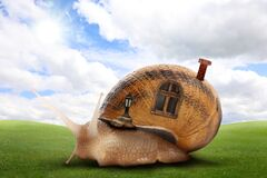Free Fantasy World. Magic Snail With Its Shell House Moving On Green Meadow Royalty Free Stock Image - 205471276
