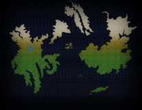 Fantasy World Map 1. Fictional map of an imagined, fictional world Stock Image