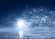 Fantasy world night sea landscape Royalty Free Stock Images