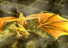 Fantasy yellow dragon flying in a maze. Royalty Free Stock Photography