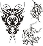 Fantasy Zodiac. Horned bull with an earring in an ear, scales and two fishes Stock Image