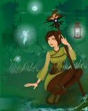Fantazi dziewczyna w noc lesie z małymi czarodziejkami Zdjęcia Stock
