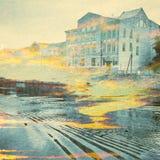 Fantazi ekologii abstrakta tło Miastowy krajobraz Mieszający z Naturalnym na Papierowej teksturze Zdjęcia Royalty Free