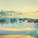 Fantazi ekologii abstrakta tło Miastowy krajobraz Mieszający z Naturalnym na Papierowej teksturze Obrazy Royalty Free