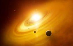 Fantazi głębokiej przestrzeni kataklizm z planetą Zdjęcie Royalty Free