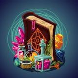 Fantazi gemowy wyposażenie Magiczny tło Pojęcie sztuka Spellbook i laboratorium Wektorowa kreskówka ilustracji