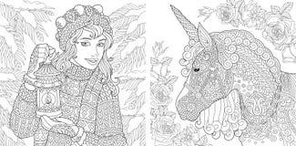 Fantazi kolorystyki strony Kolorystyki książka dla dorosłych Koloryt obrazki z zimy dziewczyną i magii jednorożec Antistress free ilustracja wektor