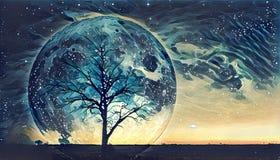 Fantazi krajobrazowa ilustracja - Osamotniony nagi drzewny sylwetka dowcip royalty ilustracja