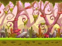 Fantazi kreskówki lasowy bezszwowy krajobraz ilustracja wektor
