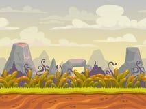 Fantazi natury bezszwowy krajobraz ilustracja wektor