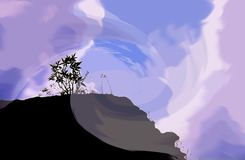 Fantazi nieba góry sylwetka Fotografia Stock