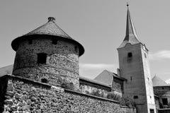 Fantazi odbudowa średniowieczny pałac w wiosce Racos, Transylvania Zdjęcia Stock