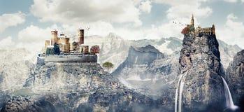 Fantazi photomanipulation średniowieczny krajobraz w zimie z c Obrazy Stock