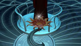 Fantazi Sci fi sceny druid obraca antycznego mechanizm 3d dalej odpłaca się ilustrację zdjęcie wideo