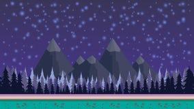 Fantazi tajemniczy bezszwowy tło dla mobilnej gry, ablegrujący Tle i gwiazdach z górami i pierwszymi planami na royalty ilustracja