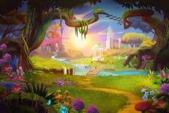 Fantazi ziemia, trawa, wzgórze, rzeka i drzewo z, Fantastycznym, Realistycznym stylem, ilustracji