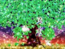 Fantazj czarodziejki dębowy drzewo i Obrazy Stock