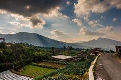 Fantazj spojrzeń kraju mountai przy Sukatani wioską i strona, Indonezja fotografia royalty free