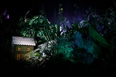 Fantazja dekorująca fotografia Mały piękny dom w trawie z światłem Stary dom w lesie przy nocą z księżyc Selekcyjna ostrość Fotografia Royalty Free