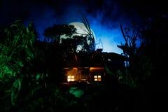 Fantazja dekorująca fotografia Mały piękny dom w trawie z światłem Stary dom w lesie przy nocą z księżyc Selekcyjna ostrość Obraz Royalty Free