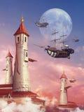 Fantazja góruje i latający statek Obraz Stock