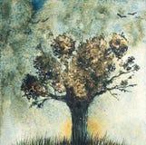 Fantazja krajobraz z drzewem Akwareli ręka rysujący illustraion royalty ilustracja