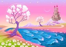 Fantazja krajobraz z kasztelem Zdjęcia Royalty Free